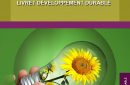 Sustainable development booklet with green energy symbol