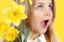Spring concept: young girl on yellow background with daffodils