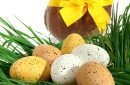 Basket of Easter eggs placed on fresh grass with a big chocolate hen with a yellow node on a white background