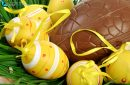 Basket of yellow Easter eggs with ribbon on green grass with a large chocolate egg