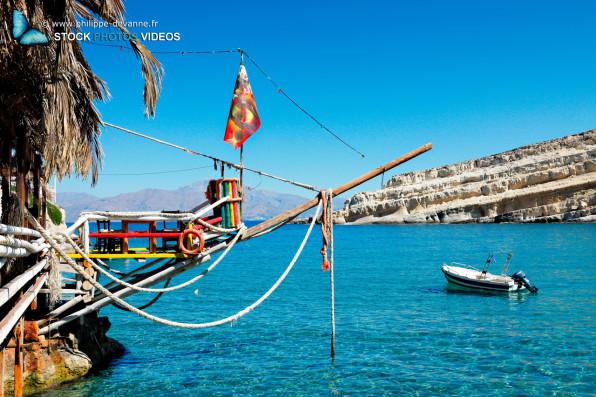 Plage de rêve de Matala Beach au sud de l'île de Crète en Grèce