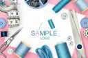 Design element with sample logo for sewing product design with set of seamstress tools and white background