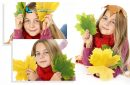 Photo collage of a pretty girl holding autumn leaves on white background