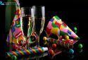 glass of champagne, confetti, hats and party accessories for the New Year