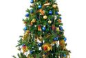 Christmas tree with ball and gifts cut out on white