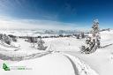 Trace de poudreuse ne station de ski